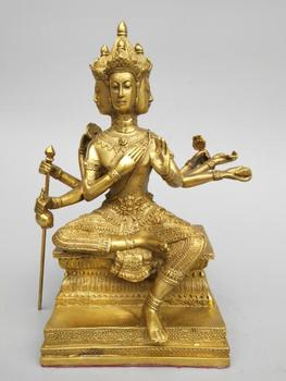 China seiko carving Pure brass Four heads Eight arms Buddha statue