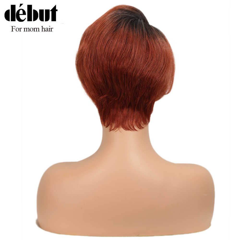 Pelucas de pelo humano de encaje de primera calidad pelucas de cabello humano Real 100% pelucas de cabello indio Remy para mamá cabello U parte de naranja pelucas