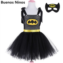 3-8Y Childrens Super Hero Inspired Superman Batman Tutu Dress Set Princess Bunny Ball Gown Performance With Mask 90-140cm