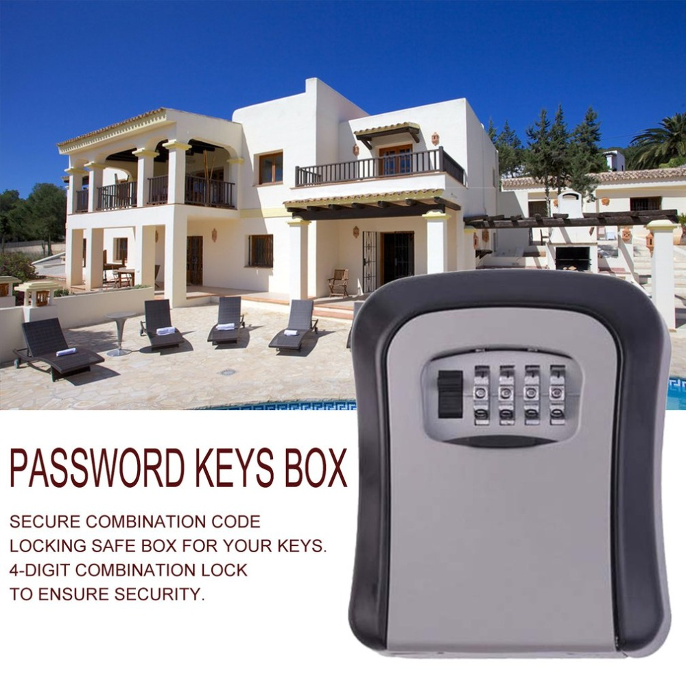 Wall Mounted Aluminum Alloy Key Safe Box MetalKey Lock Box  Weatherproof 4 Digit Combination Key Storage Lock Box