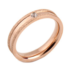 Valentines Gift Rose Gold Plated Stainless Steel 4mm Fine Pave Setting Cubic Zircon Wedding Rings Size 6-9