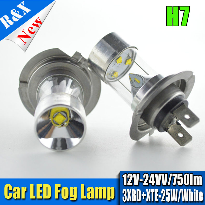 2x25W Non polarity 12V 24V H7 Canbus Error Free XBD+XTE Chips LED Super Bright White Fog Light Bulb Lamp 750lm ruiandsion 2x75w 900lm 15smd xbd chips red error free 1156 ba15s p21w led backup revers light canbus 12 24vdc