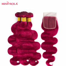 Miss Rola Hair Pre-colord Malaysian Body Wave Hair Weaving 3 Bundles With Closure #BUG Color 100% Human Non-Remy Hair Extension