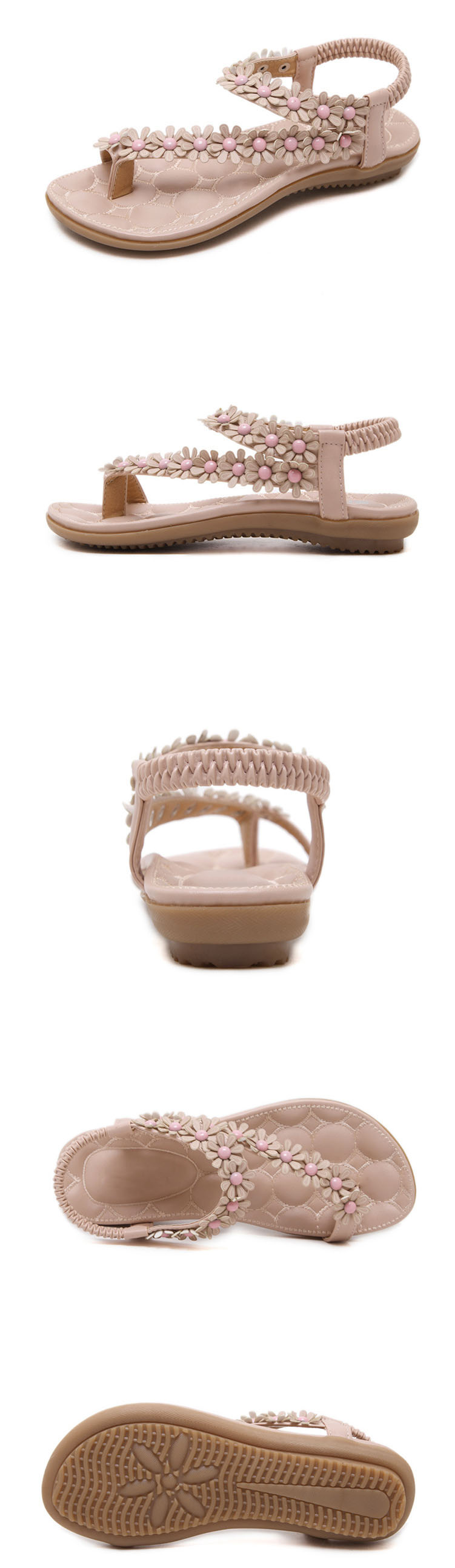 03f8338def785 Women sandals Bohemian Ethnic Crystal Flat Sandals Roman Rhinestone  Gladiator Flip Flops Flower Casual Shoes Girl Wedding