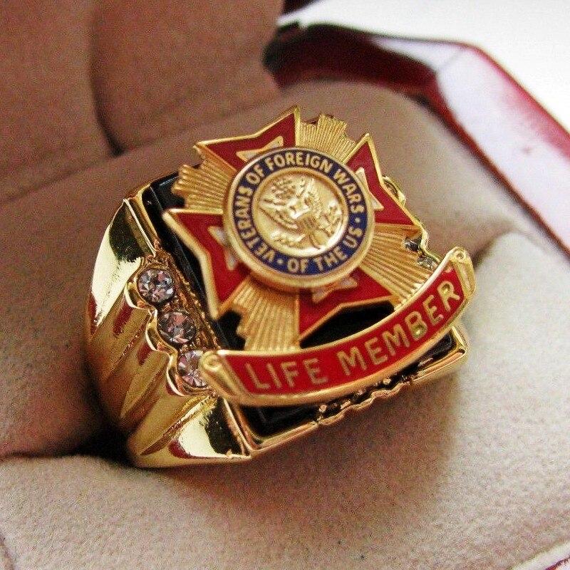 Горячая продажа лаборатория оникс 18kt золото заполнено, новый! Мужское кольцо с крестом Морской корпус США