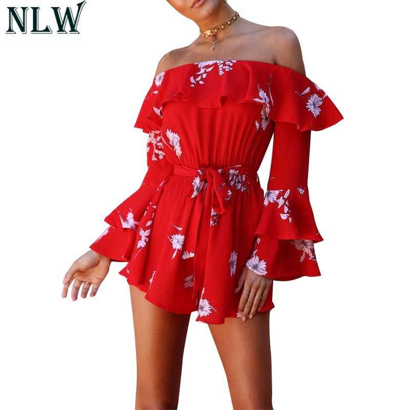 NLW красный цветок комбинезон с открытыми плечами рюшами Flare рукавом боди 2018 для женщин печати шифон сексуальный пляжный комбин