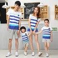 Корейский оптовая 2017 Семья установлены с коротким рукавом футболки шорты соответствия мать дочь одежда