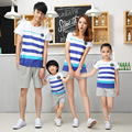 Coreano al por mayor de 2017 Familia equipada de manga corta camisetas pantalones cortos a juego de madre e hija ropa
