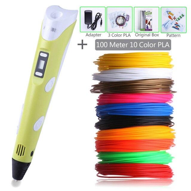 Magic 3D Printer Pen Smart Drawing Pen 3 Color PLA Filament DIY LED Display USB