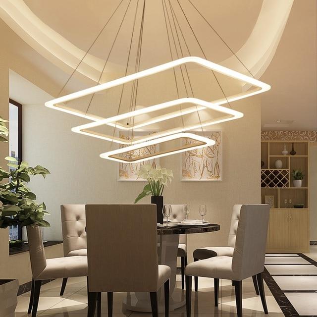 Modern minimalist rectangular LED home living room dining room bedroom chandelier Hotel Office Meeting Room Cafe Lighting