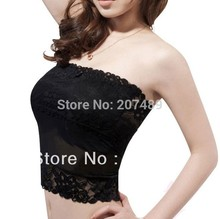 drop shipping High-elastic Broadened lace sexy design Basic Boob Tube bra vest Top Chest Wrap Can Use Belt 2 color option whcn+
