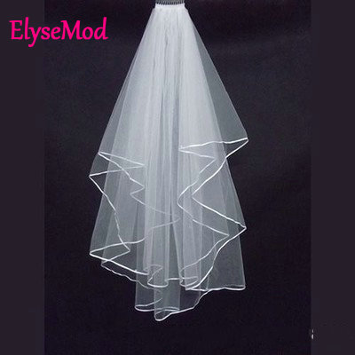 2018 New Arrival Wedding Accessories Two Layer Ribbon Edge White Ivory Wedding Veils Bri ...