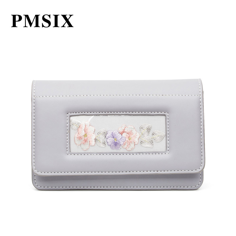 PMSIX Women Shoulder Bag 2019 Casual Embroidery Flowers Simple Long Straps Small Flaps Brand Designer Handbags for Women - 4