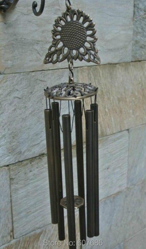Подсолнечник Латунные Колокольчики с 6 трубами Verdigris бронзовые подвесные украшения металлические китайские колокольчики колокольчик нару... - 4