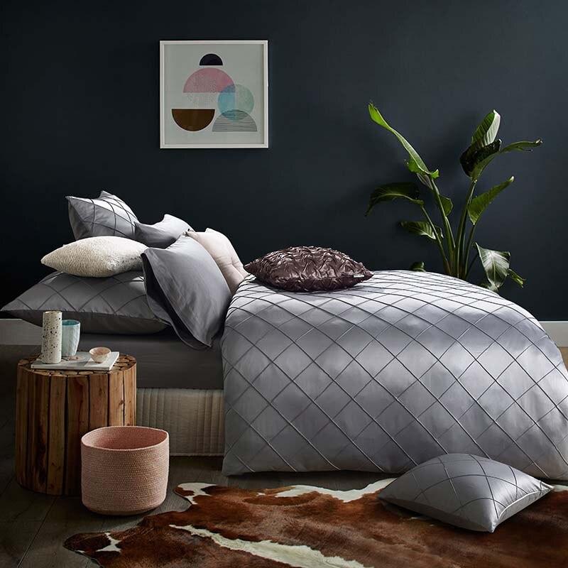 satn juego de cama de lujo del diseador cubierta uvet conjunto gris plata ropa de cama de textiles para el hogar sbana a