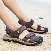 PINSV Mens Sandals Genuine Leather Sandals Men Summer Shoes Beach Sandals Men Leather Shoes Sandalias Hombre