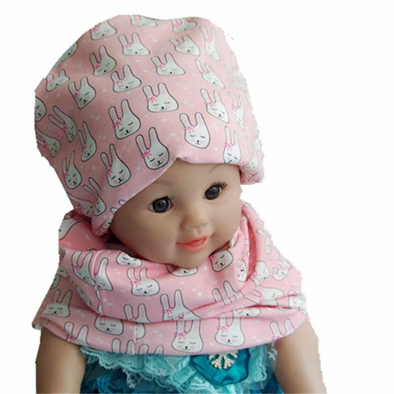 ฤดูใบไม้ร่วงพิมพ์การ์ตูนหมวกเด็กหมวกผ้าพันคอชุดผ้าฝ้าย Fox fawn หัวใจดาวกระต่ายหมีหมวกคอชุดเด็กสวมใส่อุปกรณ์เสริม