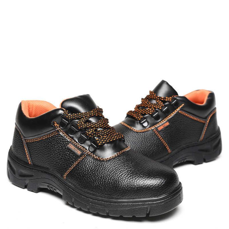 b9ee8eebd8a28 Men's Steel Toe Cap Work Safety Shoes Men 2018 Fashion Outdoor Anti-slip  Puncture Proof Construction Anti-smashing Sneaker 35-46