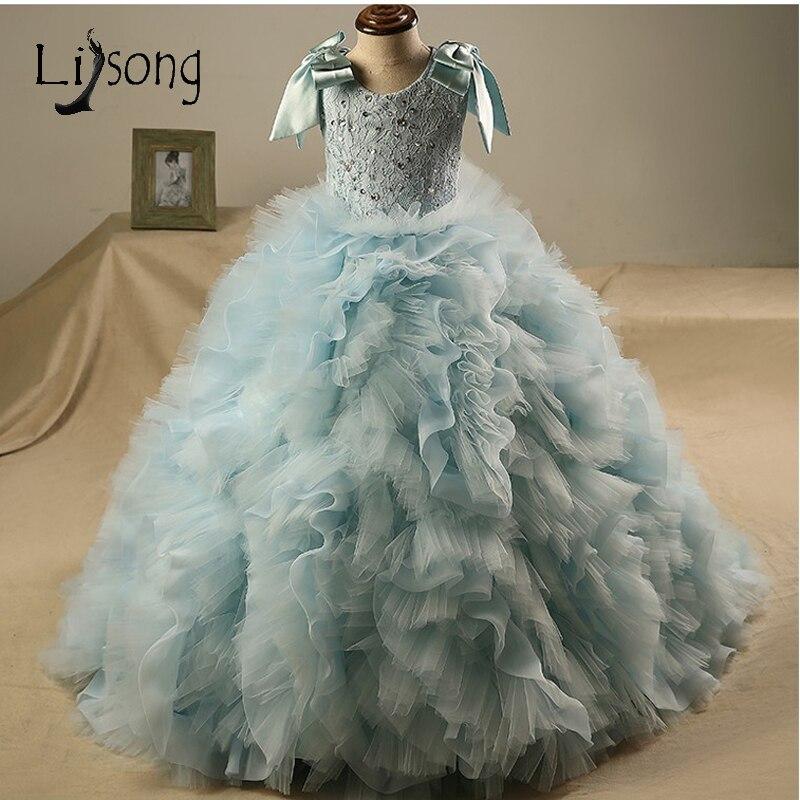 Robes de concours princesse bleu ciel pour filles à volants à plusieurs niveaux robes de bal enfants cristal Bow robes de première Communion fille de fleur