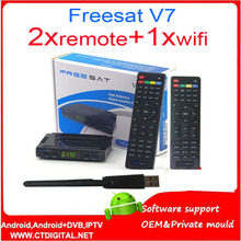 Freesat V7 hd+2pcs v7remote control+wifi/AV diseqc receptor decodificador HD Satellite TV Receiver 1080P powervu set top box