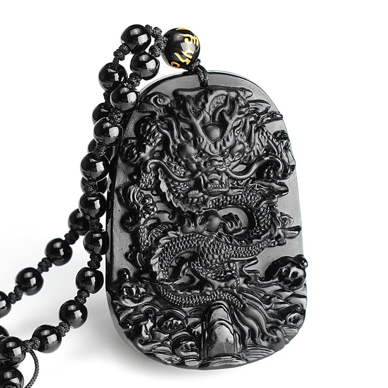 Hot Sale Natural Obsidian Stone Carved Chinese Dragon