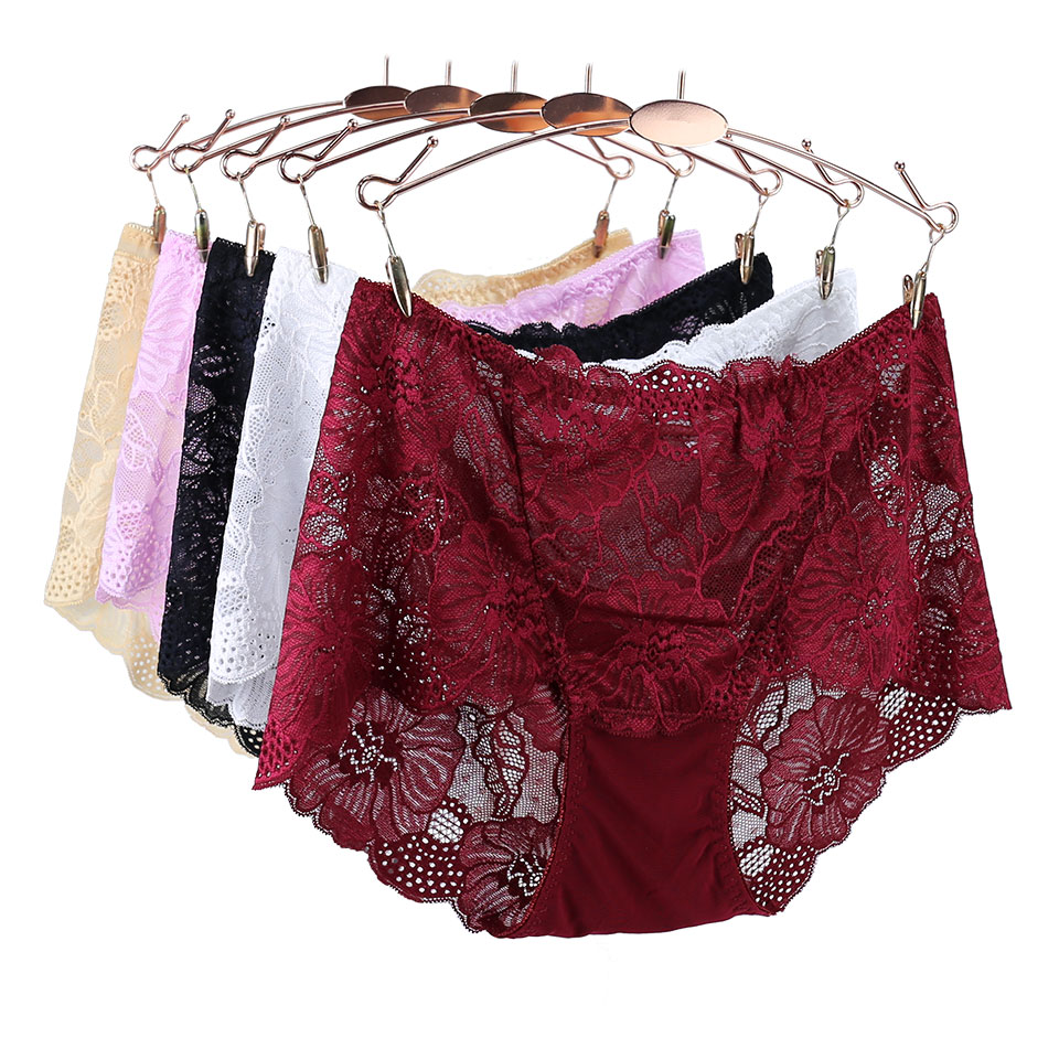 Floral High-Rise Panties Women Hollow Out Transparent Panties Underwear Women Briefs Big Size Sexy Lace Panties Female New Sale