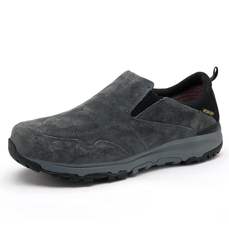 Men Slip On Leather Outdoor Hiking Shoes Suede Sport Sneakers Men Climbing Trekking Shoes