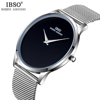 IBSO Ultra thin Mens Watches Top Brand Luxury Stainless Steel Mesh Strap Sports Quartz Watch Men Simple Style Relogio Masculino