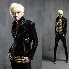 2017 new wave of men's fashion show personality coat Korean Slim leather jacket
