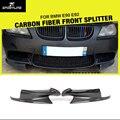 E90 e92 m3 carro-styling aventais laterais de fibra de carbono adesivos divisores para bmw e90 e92 m3 bumper 2005-2011