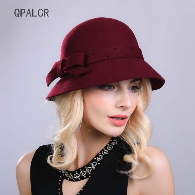 8a08b9c8a5520f QPALCR Autumn Winter Hat Classic Wool Fedoras Hats For Women Formal Solid  Bow Bucket Hat Girl