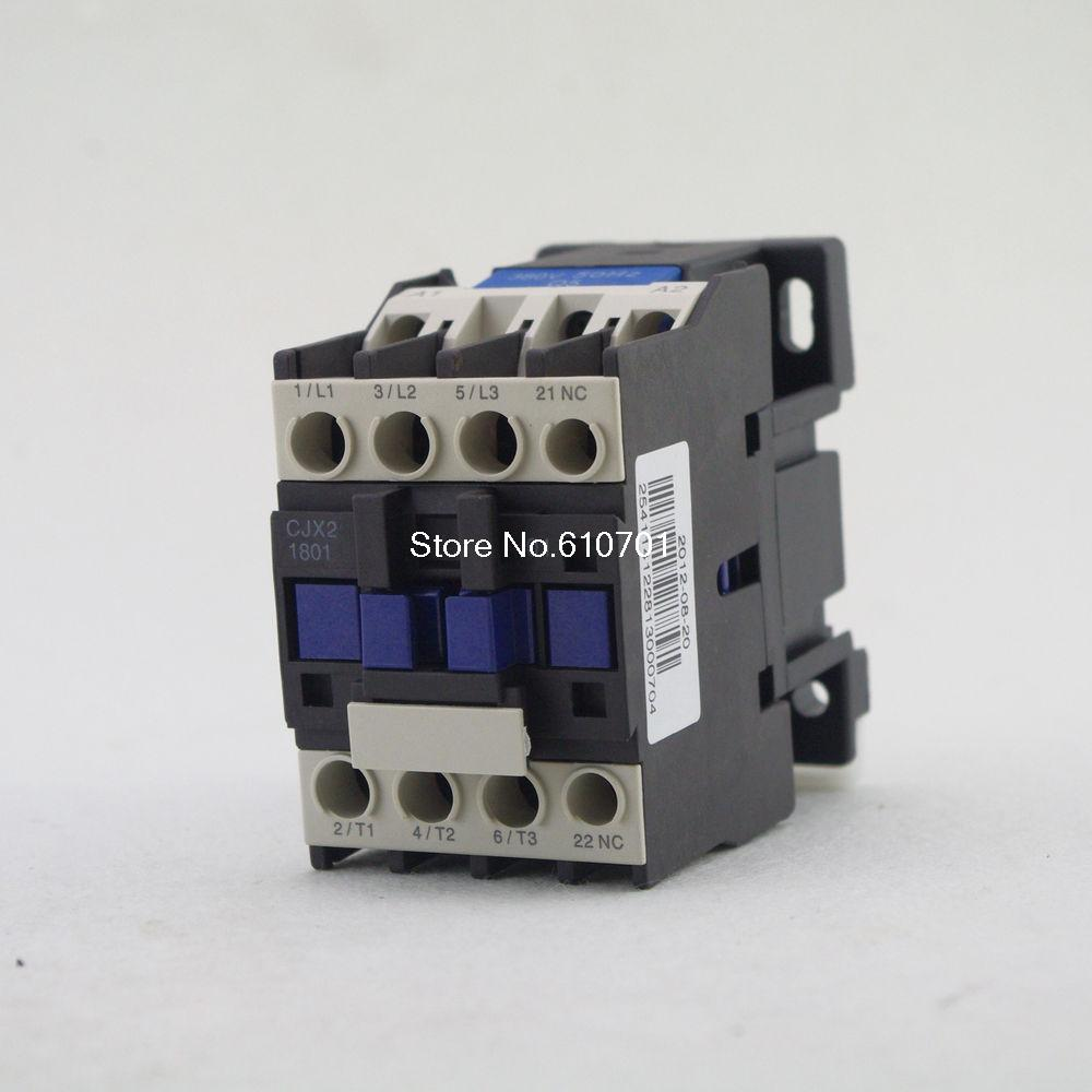 AC Contactor Motor Starter Relay (LC1) CJX2-1801 3P+NC 380/400V Coil 18A 7.5KW ac contactor motor starter relay lc1 cjx2 1201 3p nc 220 230v coil 12a 3kw