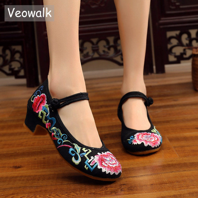 Veowalk Rhinestones Embroidered Women Low Block Heel Canvas Pumps Shoes  Ankle Strap Elegant Ladies Comfort Chinese Cotton Shoes 04b7097de02a