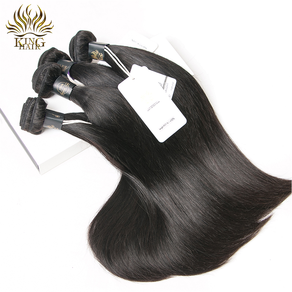 King Peruvian Straight Hair 4 Bundles Human Hair Extensions Double Weft Remy Hair Weave Bundles Natural