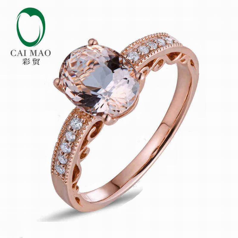 CaiMao 18KT/750 Or Rose 1.68 ct Naturel Morganite & 0.10ct Ronde Cut Diamond Engagement Anneau de Pierre Gemme Bijoux