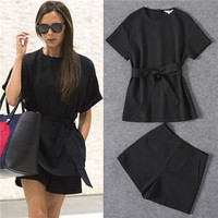 2017 Fashion Women Pant Set Solid Short Sleeve Loose Blouses + A-line Shorts Casual High quality 2 Piece sets Victoria Black Xl
