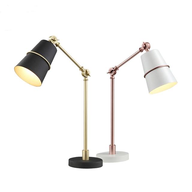 Long Arms Flexible Desk Table Lamp Led Reading Light Adjustable Gold Dining  Table Bedside Lamp Children