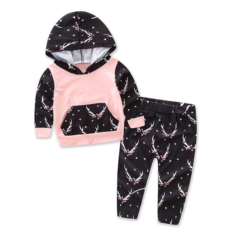 INS Fashion Baby Girls Clothing Set Pink Infant Outfits Fawn Print Baby Set Suits Autumn Cotton Long Sleeve Baby Clothes