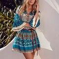 2017 new Fashion bohemian boho Women Summer beach casual vintage floral print deep v-neck lace-up Mini Dress Vestido Cortos