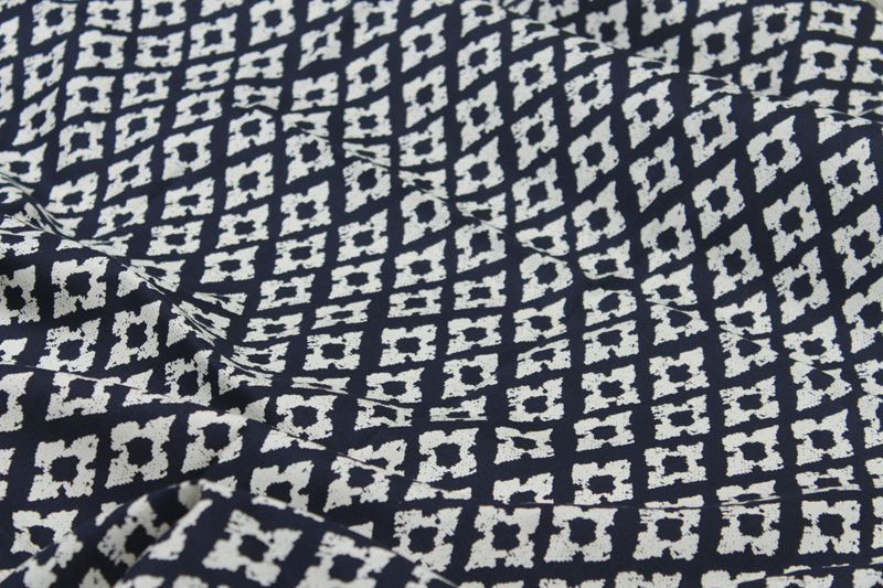 1 Meter 100% Cotton Canvas Sofa Fabric, Navy Bottom With White Diamond  Print, Table Cloth Curtain Cotton Sofa Cover CR 659