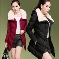 2014 New winter slim down cotton-padded jacket medium-long fur collar wadded coat female thickening plus size 3xl outerwear