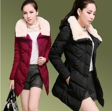 Куртка хлопок — мягкий длинная, зима приталенный пуховик средний — мех воротник ватные пальто женское утолщение 3xl верхняя одежда