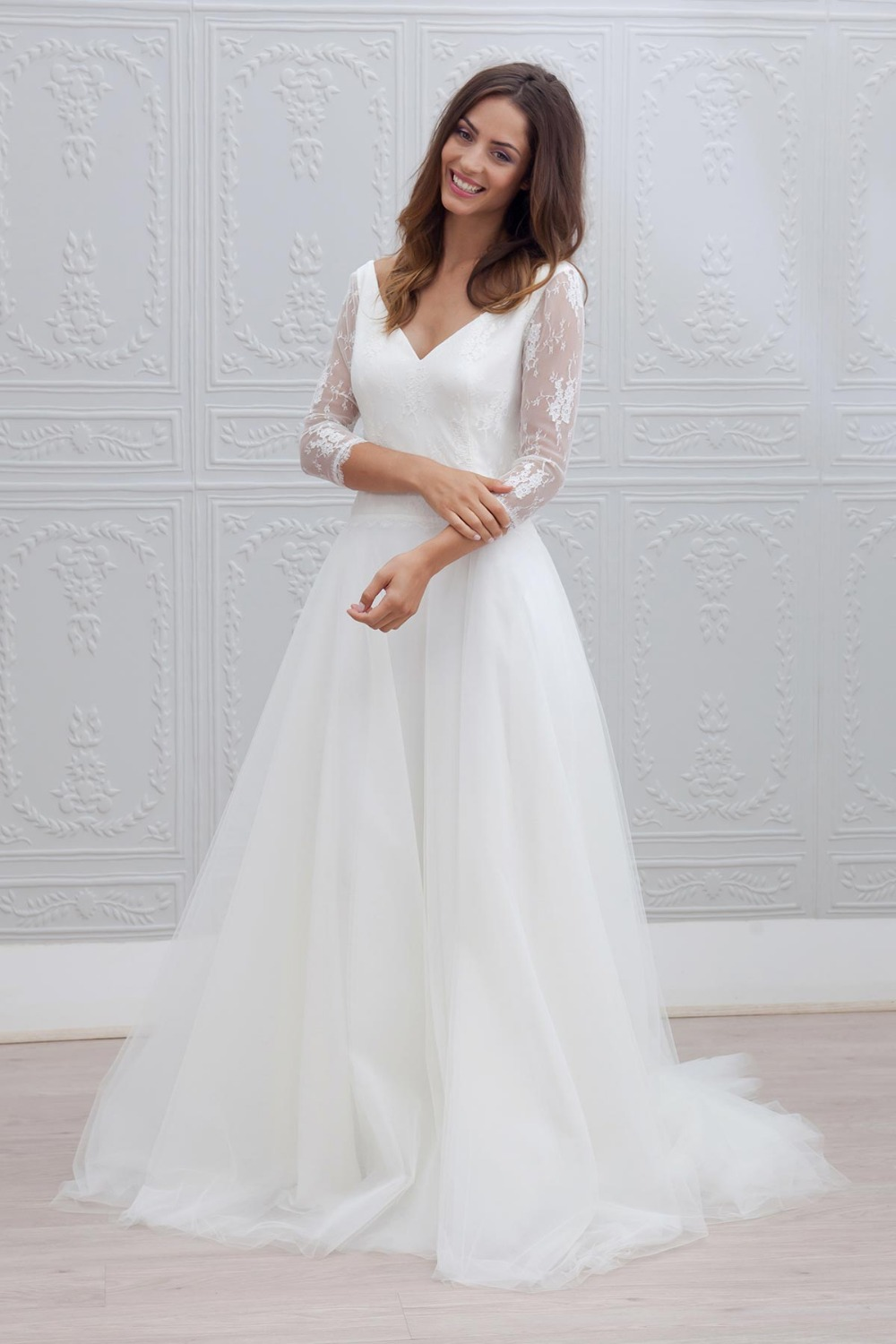 2016 new designer a line long 34 sleeves lace tulle bohemian beach wedding
