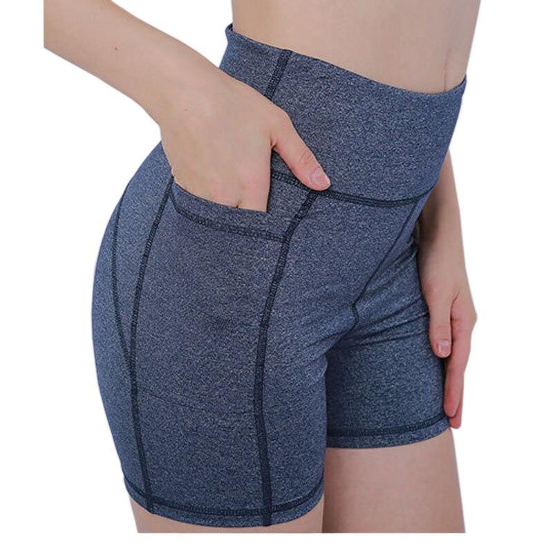@1  Женские шорты для бега с одним карманом Упругие шорты для фитнеса для йоги Талия Хип Пуш-ап шорты Бе ①