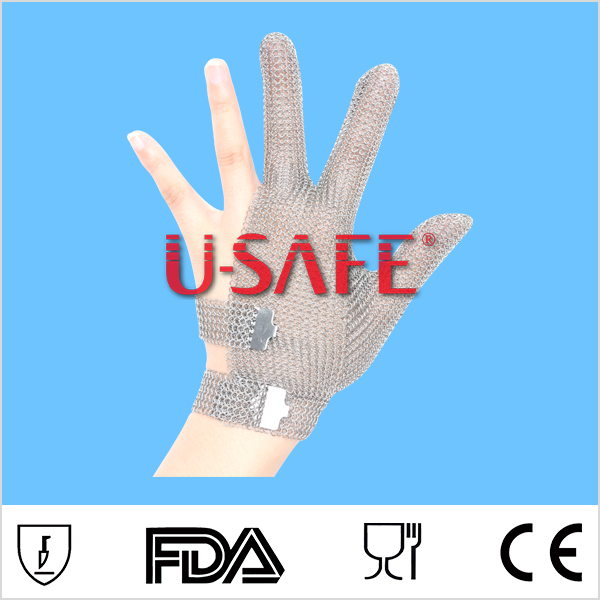 Three finger finger safe stainless steel chainmail glove for cutting meat cut vegetables cut thing glove lobster glove stainless steel metal mesh shucking glove cut proof knife proof chain mail glove