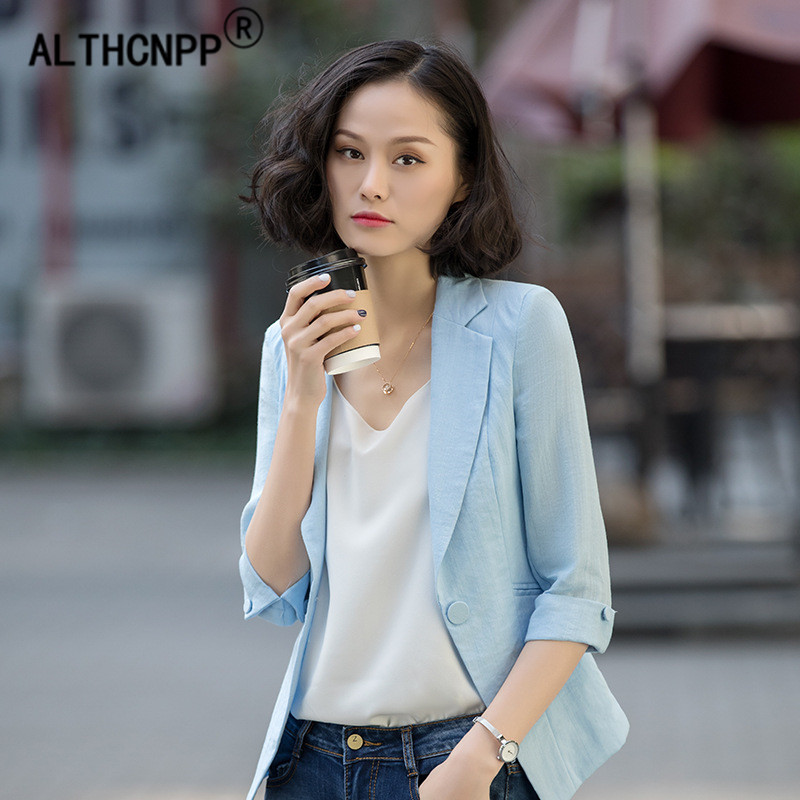 Cotton OL Women Blazer Spring Autumn Slim Jacket Overalls Korean Fashion Elegant Temperament Thin Ladies Blazer Feminino