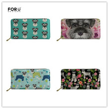 FORUDESIGNS Ladies Fashion Long Wallets PU Leather for Female Cluth Money Bag Phone Card Holder Girls Cute Schnauzer Coin Pocket