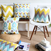 Wholesales Soft Velvet Cushion Cover Yellow Blue Ikat Geometric Home Decorative PillowCase 45x45cm 30x50cm