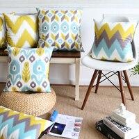 Großhandel Weichen Samt Kissenbezug Gelb Blau Ikat Geometrische Hause Dekorative Kissenbezug 45x45 cm/30x50 cm