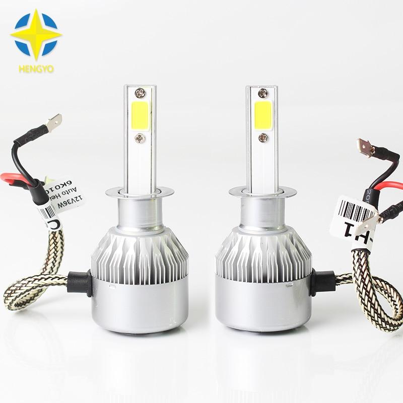 2ks H1 COB LED automobilové světlomety 72W 8000lm Auto přední světlo H1 Mlhové žárovky 6500K 12V 24 V Led automobilový světlomet # C6